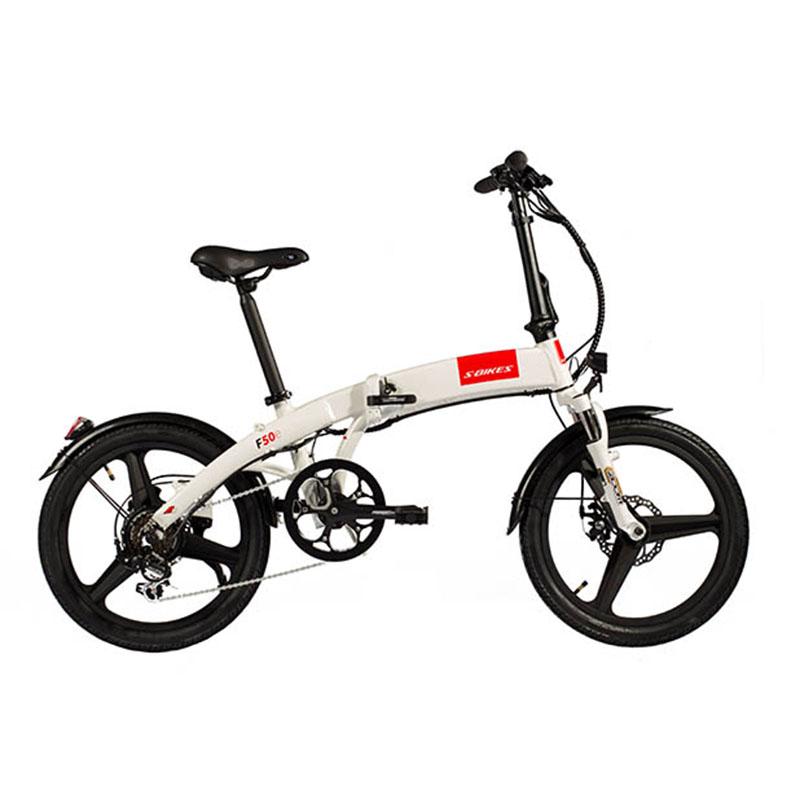 Skladací elektrický bicykel S-Bikes F50e biely